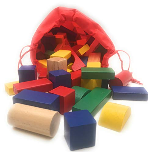 Oojami Stack it! Wooden Building Blocks Set - 120 Blocks in 5 Colors and 6 Shapes w/ a Carrying Storage Bag