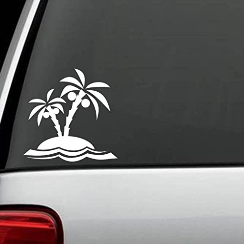 Creative Leaves Wallpaper (Palm Trees Beach Decal Vinyl Sticker|Cars Trucks Vans Walls Laptop| WHITE |5.5 x 5.5 in|CCI711)