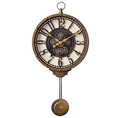 Vintage American Retro Clock - Yxx max Wall Clock Wall Clocks Battery Operated Non Ticking Pendulum Decorative Living Room Decor Silent Bedroom Kitchen Vintage American Retro Quartz Household Clocks