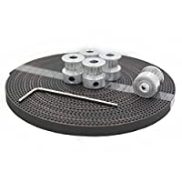 CycleMore 5Pcs 5mm Aluminum Gt2 16t Pulley and 2GT-6mm 5Meters Rubber Opening Belt for 3D printer (reprap , Prusa i3 , MendelMax) from CycleMore