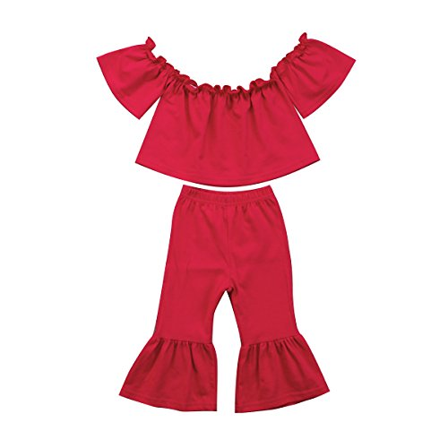 Baby Kids Girl Off-Shoulder T-Shirt Top + Long Flare Pants Ruffled Short-Sleeve Outfit Clothes Set (Red, - Shirt Girls Ruffled