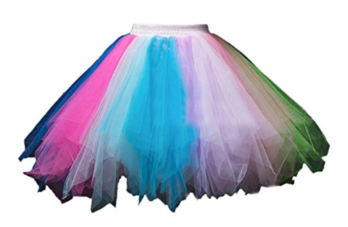 (Honeystore Women's Short Vintage Ballet Bubble Puffy Tutu Petticoat Skirt Blue Fuschia Green Purple)