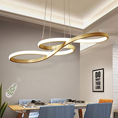 LED Chandelier Dining Room Island Ceiling Pendant Light Dimmable 3000K-6500K Remote Acrylic Half Flush Mount Lighting Fixtures, Modern Designer Height Adjustable Bedroom Living Room Decor Hanging Lamp