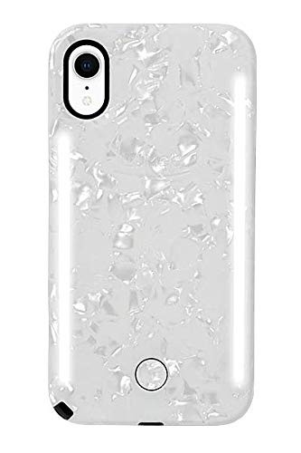 info for f9604 2193e LuMee Duo Phone Case, Pearl White | Front & Back LED Lighting, Variable  Dimmer | Shock Absorption, Bumper Case, Selfie Phone Case | iPhone XR Only