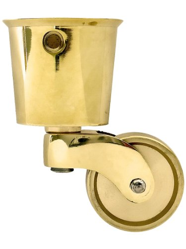 Large Solid Brass Round Cup Caster with 1 1/4