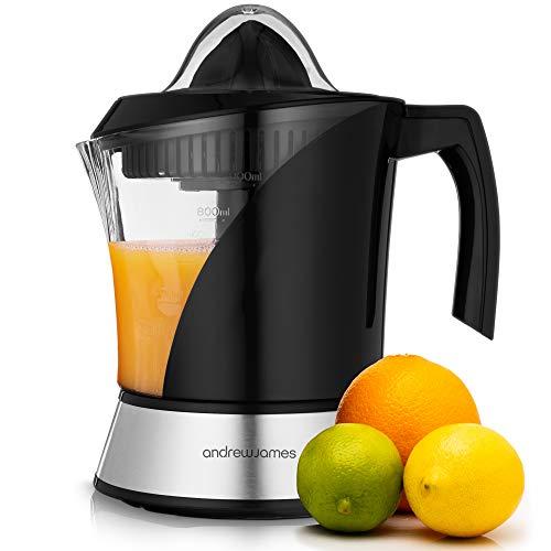 Andrew James Fruit Juicer Electric Citrus Juicing Machine for Soft Fruits Like Oranges Lemons and Limes | Large 1 Litre Capacity Jug & 2 Juicing Cones | Easy Clean Filter | 40w | Black