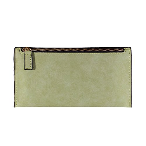 Fashion Ladies Wallet Billfold Real Leather Zipper Long One Compartment Purse (Lime)