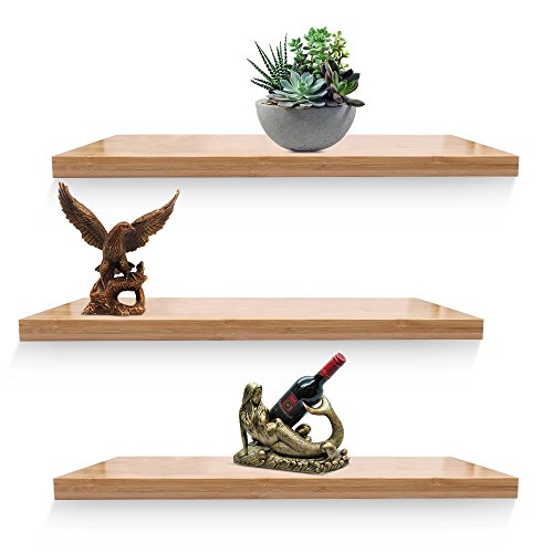 Set Bedroom Bamboo Bedroom (XiaZ Bamboo Wall Shelves, Floating Shelf Wall Mount for Bedroom, Bathroom, Kitchen, Office, Decorative Wall Shelves Set of 3)