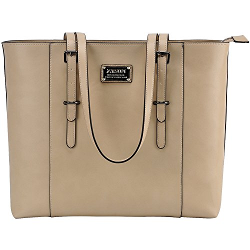 Women,15.6 in Large Laptop Tote PU Leather Functional Structured Tote with Long Straps for Work Travel ()