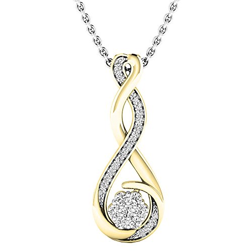 Dazzlingrock Collection 0.20 Carat (ctw) 14K Round Diamond Ladies Infinity Swirl Pendant (Silver Chain Included), Yellow ()