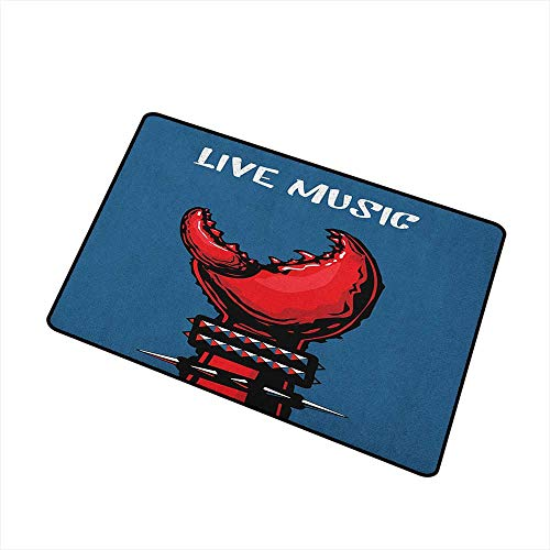 Sillgt Indie Funny Doormat Crab Claw with Spiky Wristbands Heavy Rock Live Music Performance Inscription Art Non Toxic Rug 16
