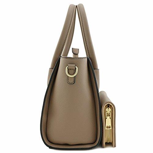 Top with Wallet Classic Set Saffiano 2pcs Stone Around Handle Small Bag Satchel Zip qEB88Rw