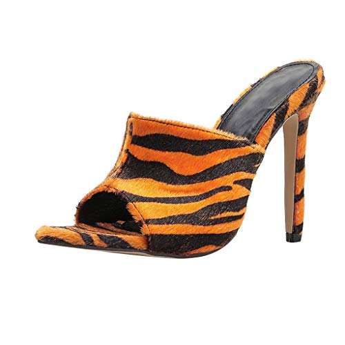 Women Pointed Hairy High Heel Shoes,LuluZanm Zebra Leopard Sandals Slippers Platform Shoes -