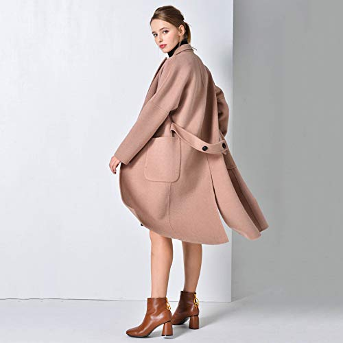 Più Hgdr Con Risvolto Cappottini Tinta Double Autunno Da Overcoat In Bottone Lungo Donna inverno Face Cappotto Parka Coat Pink Outwear Unita Cashmere Un Trench 4w4q8rv