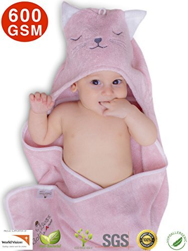 """Premium Hooded Baby Towel, 100% Organic Bamboo, Free Baby Bib or Gloves, Baby Shower Gift, 35x35"""", Newborns Infants Toddlers, Kids, for Boys and Girls..."""