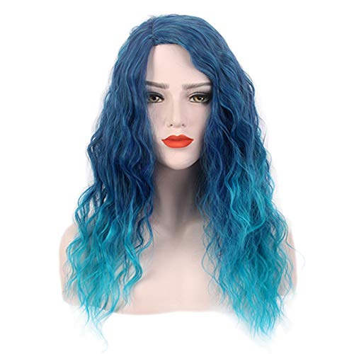 JINGF European and American Ladies Fashion Wigs, Halloween Wig/Blue Long Curly Cosplay Wig -
