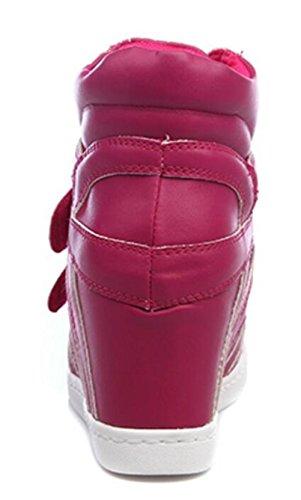 Talon Caché Haut Talon Haut Lacets Casual Mode Féminine Baskets Chaussures Rose Rouge