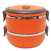 SODIAL(R) 2-Layer Stainless Steel Portable Insulated Thermal Lunch Box Bento Food Container Storage With Handle Heat Preservation For Students Children Outdoor Camping£¨Orange £©