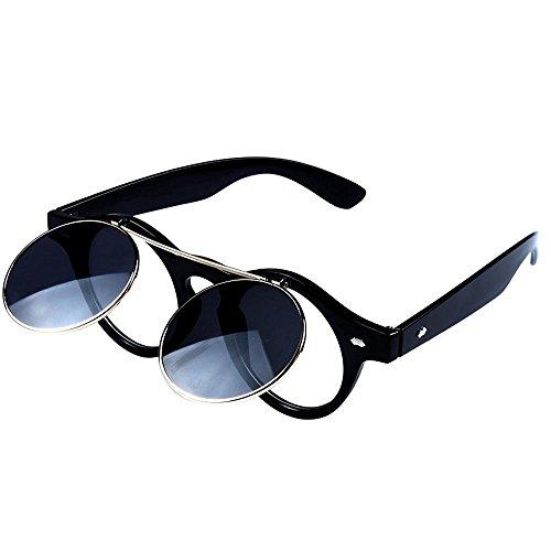 Lens la Femmes de gris Double Gothique Lunettes de soleil Noir mode soleil de Hommes Flip et Retro Lunettes zPtwFxAqA