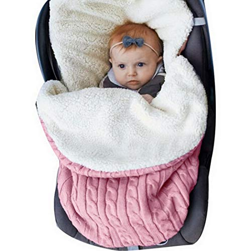 Transportation Stroller Blanket - Youthny Unisex Baby Sleeping Bag Stroller Swaddle Blanket Wrap Soft Think Knit Fleece Lined for 0-12 Months Infant Baby Boys Girls Carriage Sleep Sack (Pink)