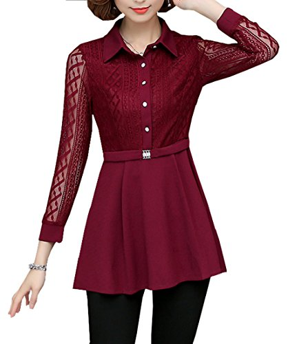 Tribear Women's Button Down Shirt Long Sleeve Blouse Floral Lace Peplum Dress - Belted Blouse Sleeve Long