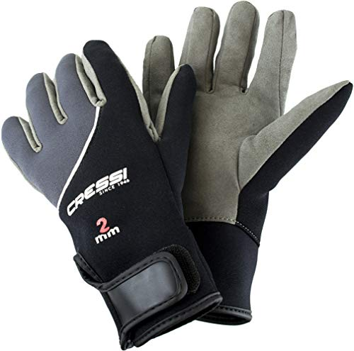 Cressi Tropical Gloves, Black/Grey, - Warm Water Gloves 2mm