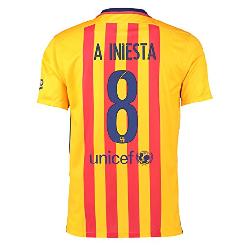 2015-16 Barcelona Away Shirt (Iniesta 8) B077VHCW3JRed Small 34-36\