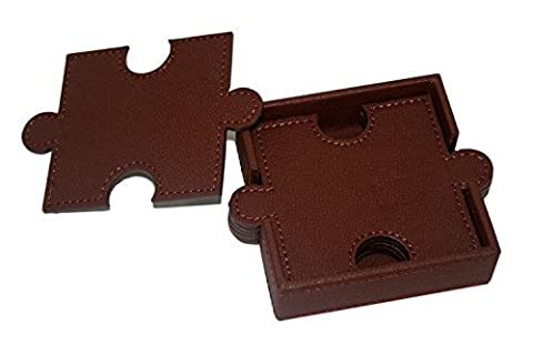 WOOSAL 6 Pieces Double-deck Puzzle Leather Coasters with Coaster (Avorio In Pelle Ottomana)