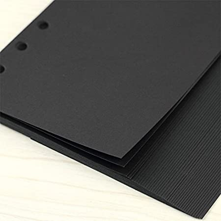 A6 Planner Refill Refillable Notebook Paper A6 3.74 x 6.69 for Filofax 6 Ring Binder Refill Black Paper