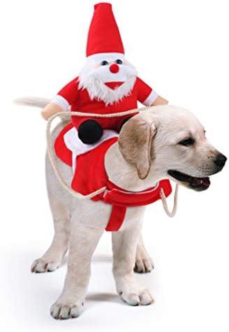 Idepet felpa cane natale, cappotto per cani natale con babbo natale a cavallo B07YSB922P