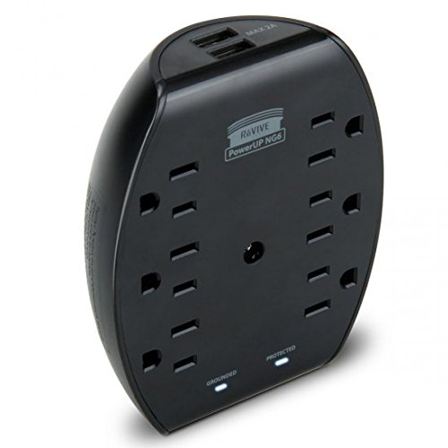 Rapid 6-Port AC Outlet Adapter with 2.1A Dual USB Charging P