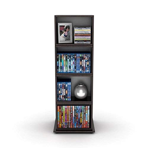 Media Storage Tower for CDs/DVDs Features Four Rotating Cubes, Adjustable Shelves, Space-saving Storage and Non-marring Rubber Feet, Wood Grain Finish, Perfect for Home's Interior