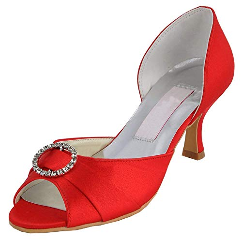 Red Red Red Raso 5cm Womens Heel Peep MZ578 White UK 6 Sposa da Heel Strass 6 Toe Dimensione 7 Colore Med 5cm Sandali ZHRUI Heel Scarpe wZqWRdw0