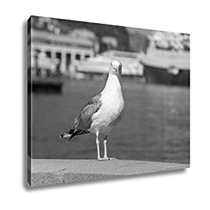 Ashley Canvas Seagull On The Railing Of The Embankment Yalta UKraine, Wall Art Home Decor, Ready to Hang, Black/White, 16x20, AG5884381