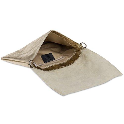 Strap Envelope Ladies Leather Caspar Evening Gold Bag Shoulder Tl770 Metallic Clutch Large With qAwxRTHp