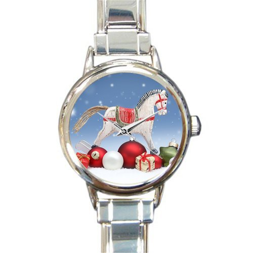 Personalized Watch Christmas Day Gift with Funny Hporse Round Italian Charm stainless steel Watch