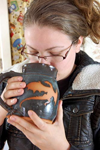 Huge Slate Blue Mug with Rust Dragon ()