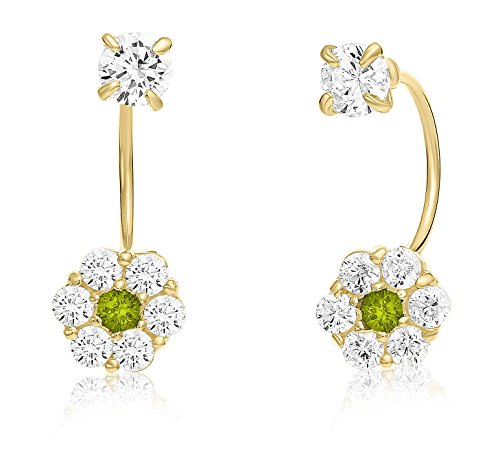 10k Yellow Gold Halo Flower Stud and Solitaire CZ Front-back Earrings with Simulated Birthstone (August)