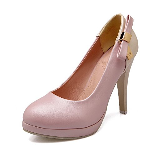 AmoonyFashion Womens Spikes Stilettos Soft Leather Pull On Round Closed Toe Pumps-Shoes Pink