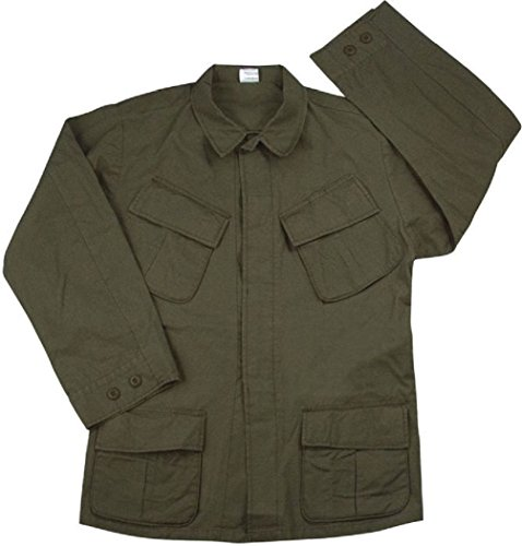 Od Green Vintage Military Rip-Stop Vietnam Era Bdu Fatigue Shirt