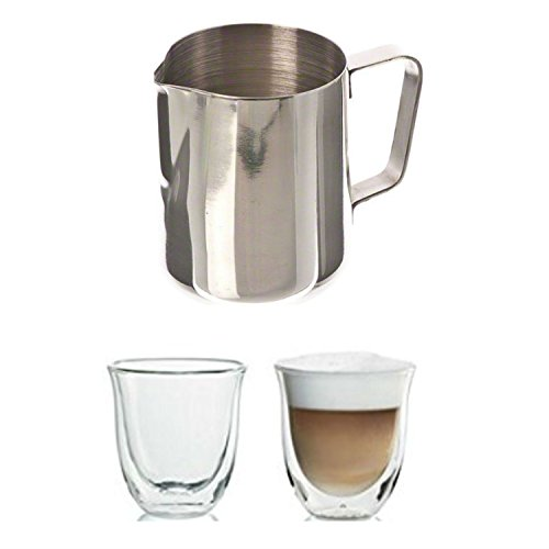 Update International Milk Frothing Pitcher and Delonghi Cappuccino Cups Set. Convenient One-Stop Shopping to Acquire these 2 Popular Cappuccino Items