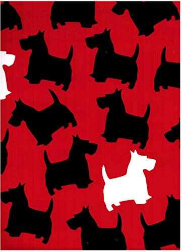 (Black and Red Scottish Terrier Rolled Gift Wrap Paper 2 Sheets of 19.5 in x 27.5 in)