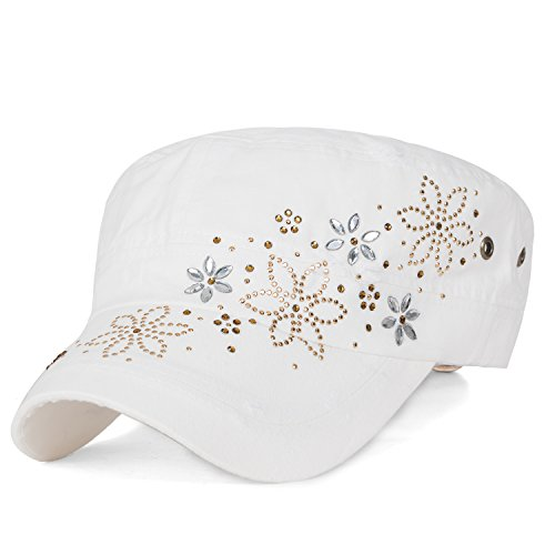 ililily Crystal Gemstone Stud Flower Vintage Cotton Military Army Hat Cadet Cap, White