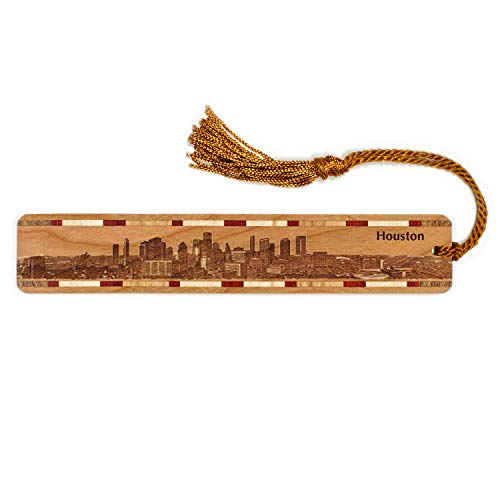 Houston Texas Skyline Engraved Wooden Bookmark with Tassel - Also Available ()
