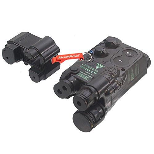 PEQ-16 Batería de Litio / NiCD/NiMH Mini Tipo Caja de batería para Estándar 20mm Rail (Negro) - Llavero Incluido AGG