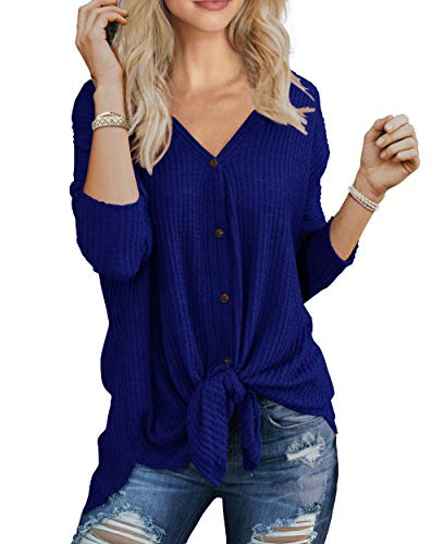 IWOLLENCE Womens Loose Henley Blouse Bat Wing Long Sleeve Button Down T Shirts Tie Front Knot Tops Royal Blue S