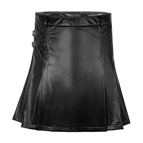 TiaoBug Mens Black Faux Leather Gladiator Pleated Twin Cargo Pockets Kilt Black X-Large