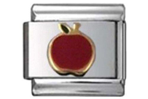 Stylysh Charms Apple Teacher RED Enamel Italian 9mm Link FO022