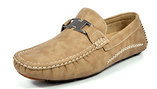 Khaki Mens Shoes - Bruno Marc Men's Ralph-02 Khaki Driving Loafers Moccasins Shoes - 8.5 M US