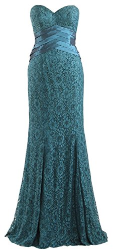 Strapless Formal Mermaid Women Dress Gown Evening Lace Party MACloth Wedding Teal EqZUA
